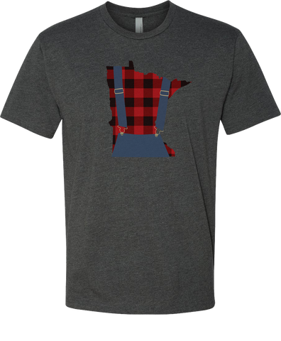 Minnesota Plaid Overalls - Unisex T-Shirt - Charcoal