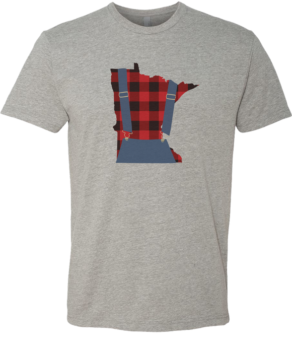 Minnesota Plaid Overalls - Unisex T-Shirt - Dark Heather Gray - Pick & Shovel Wear