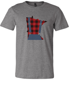 Minnesota Plaid Overalls - Unisex T-Shirt - Deep Heather Gray - Pick & Shovel Wear