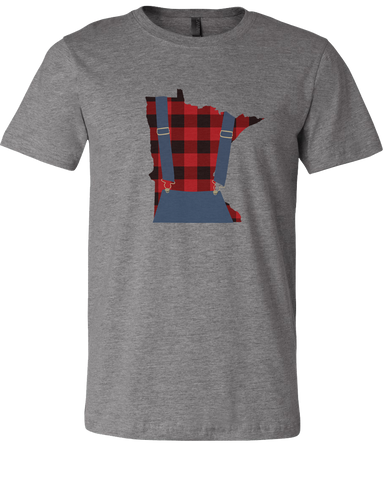 Minnesota Plaid Overalls - Unisex T-Shirt - Deep Heather Gray