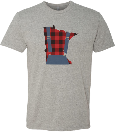 Minnesota Plaid Overalls - Unisex T-Shirt - Dark Heather Gray