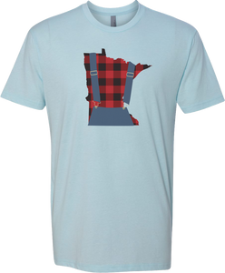 Minnesota Plaid Overalls - Unisex T-Shirt - Ice Blue - Pick & Shovel Wear