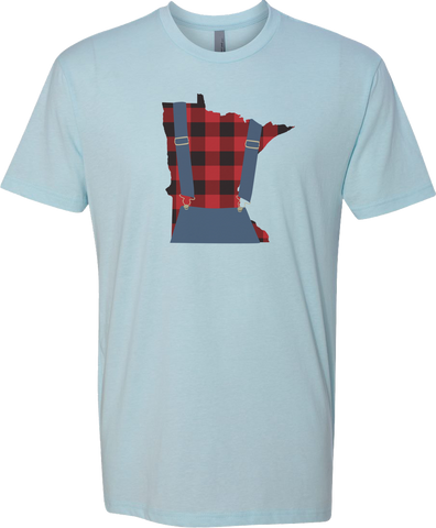 Minnesota Plaid Overalls - Unisex T-Shirt - Ice Blue
