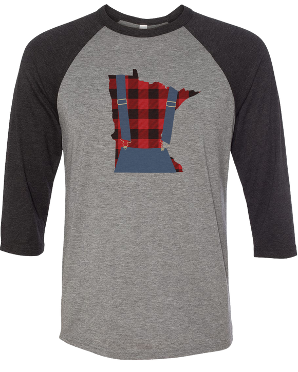 Minnesota Plaid Overalls - Unisex Raglan - Dark Heather Gray/Black - Pick & Shovel Wear