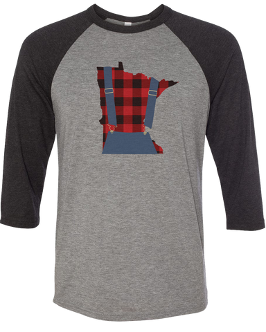 Minnesota Plaid Overalls - Unisex Raglan - Dark Heather Gray/Black