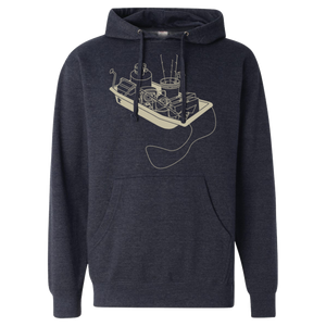 Ice Fishing Sled - Midweight Hooded Pullover Sweatshirt - Heather Navy - Pick & Shovel Wear