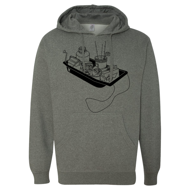 Ice Fishing Sled - Midweight Hooded Pullover Sweatshirt - Gunmetal Heather Gray - Pick & Shovel Wear