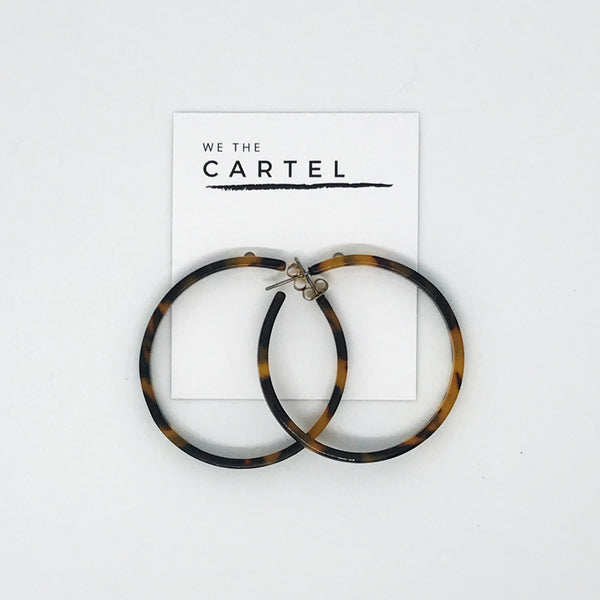 RESIN HOOP EARRINGS - TORTOISE SHELL DA122