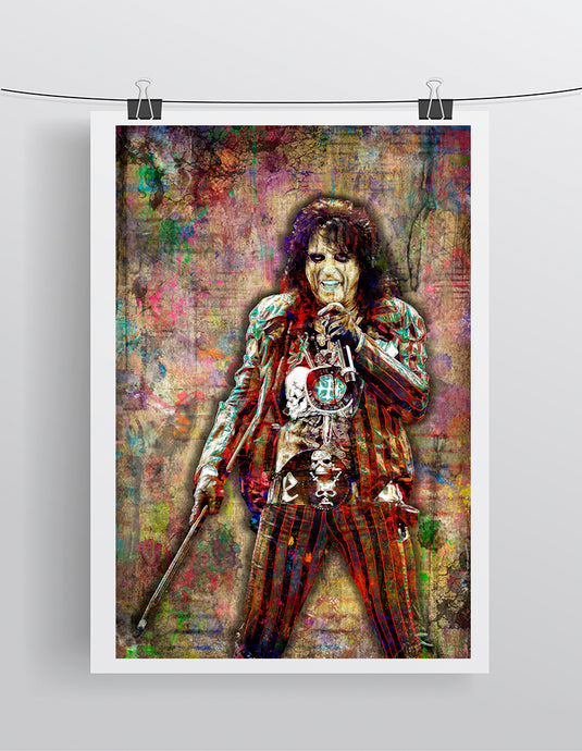 Alice Cooper Poster, Alice Cooper Band Portrait Gift, Alice Cooper Colorful Layered Tribute Fine Art