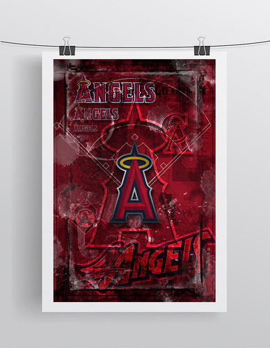 Anaheim Angels Poster, Angels of Anaheim Artwork Gift, Angels Layered Man Cave Art