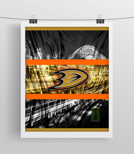 Anaheim Ducks Hockey Poster, Anaheim Ducks in front of skyline, Ducks Man Cave Print