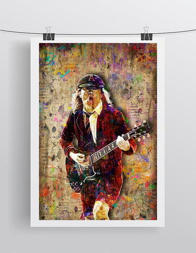 Angus Young Poster, Angus Young AC/DC Tribute Fine Art