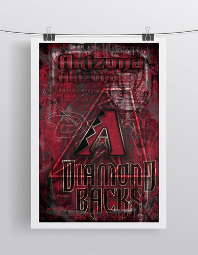 Arizona Diamondbacks Poster, Arizona D-Backs Artwork Gift, Diamondbacks Layered Man Cave Art