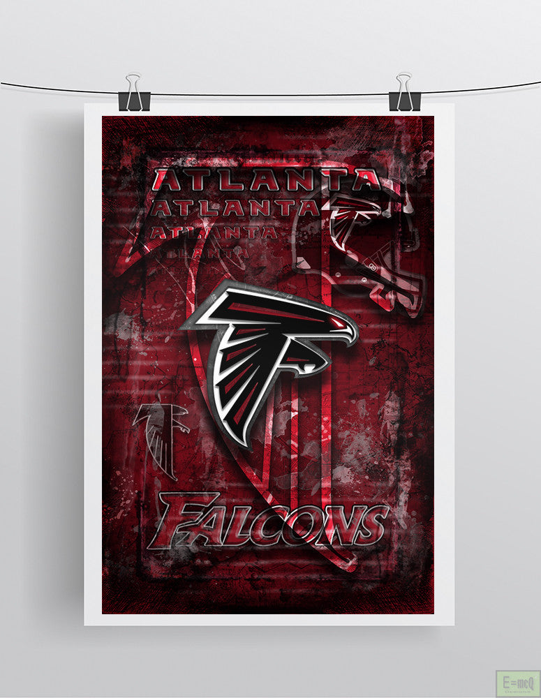 Atlanta Falcons Football Poster, Atlanta Falcons Gift, Atlanta Falcons Man Cave Falcons Gift