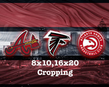 Atlanta Sports Teams Poster, Atlanta Sports Print, Atlanta Falcons, Atlanta Hawks, Atlanta Braves