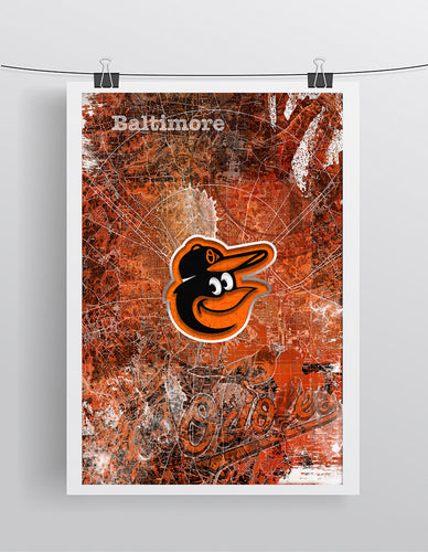 Baltimore Orioles baseball Poster, Orioles Print in front of Baltimore Map. O's Gift, Orioles Man Cave Baseball Print