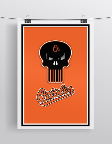 Baltimore Orioles Punisher Logo Baseball Poster, Orioles Print Punisher Logo. O's Gift, Orioles Man Cave
