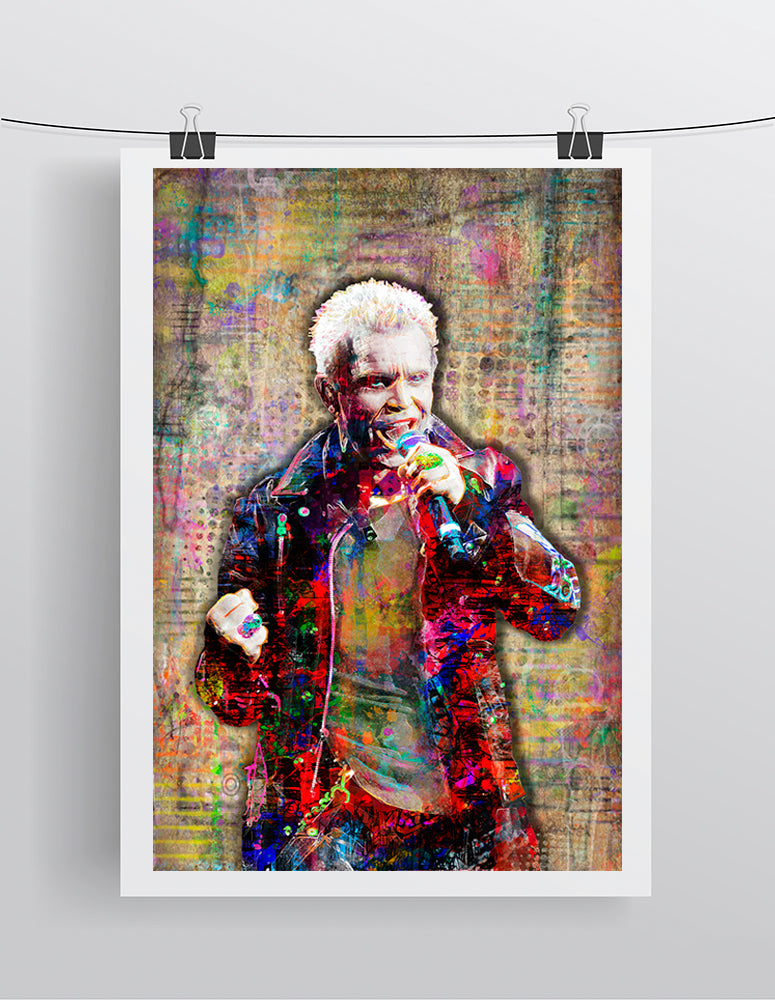 Billy Idol Poster, Billy Idol Tribute Gift, Billy Idol Pop Fine Art
