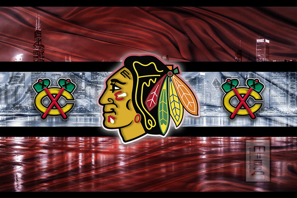 Chicago Blackhawks Hockey Poster, Blackhawks Chicago Skyline Gift