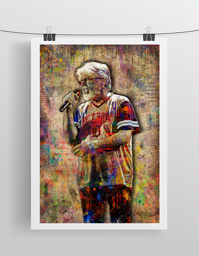 Bob Seger Poster, Bob Seger and The Silver B Band Gift, Bob Seger Colorful Layered Tribute Fine Art