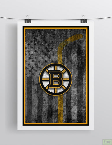 Boston Bruins Hockey Poster, Boston Bruins Hockey Flag Bruins Gift, Man Cave