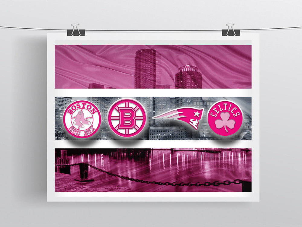 Boston Sports Teams Print, Pink Boston Sports Art, Boston Pink Sports Teams Poster