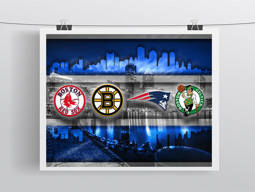 Boston Sports Teams In Front 2 Of Skyline Poster, New England Patriots, Boston Celtics, Bruins, Red Sox Man Cave, Gift