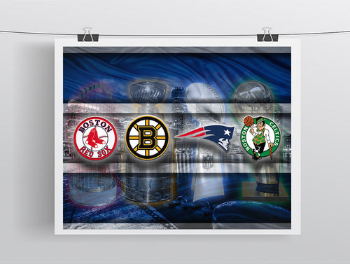 Boston Championship Sports Teams Poster, New England Patriots, Boston Celtics, Bruins, Red Sox Man Cave, Gift