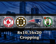 Boston Blue Sports Poster, New England Patriots, Boston Celtics, Bruins, Red Sox