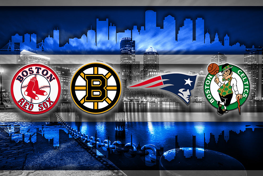 Sport Wallpaper New England Patriots: Boston Sports Teams In Front 2 Of Skyline Poster, New