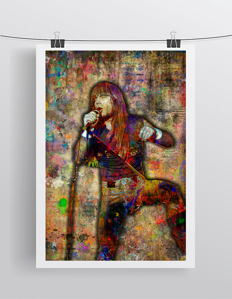 Bruce Dickinson Poster, Bruce Dickinson Portrait Gift, Iron Maiden Colorful Layered Tribute Fine Art