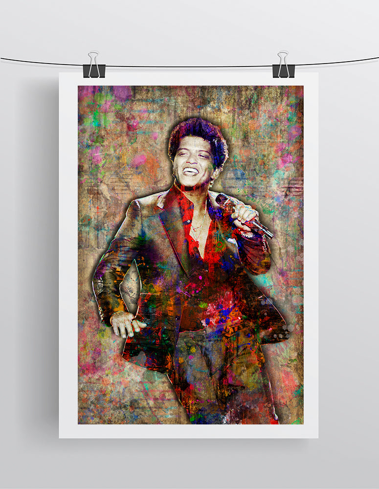 Bruno Mars Poster, Bruno Mars Gift, Bruno Mars Colorful Layered Tribute Fine Art
