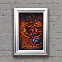 Chicago Bears Football Poster, Chicago Bears Layered Man Cave Gift, NFL Chicago Bears