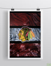 Chicago Blackhawks Hockey In front of Chicago Skyline Poster, Chicago Blackhawks Man Cave Gift