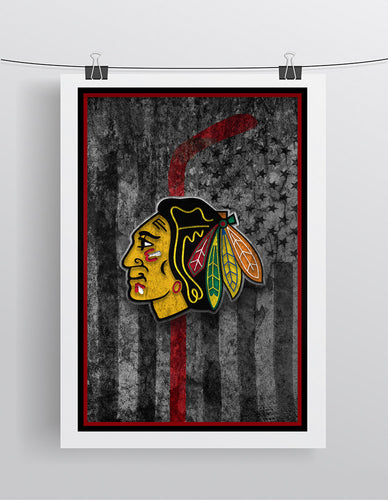 Chicago Blackhawks Hockey Flag Poster, Blackhawks Flag Man Cave Gift