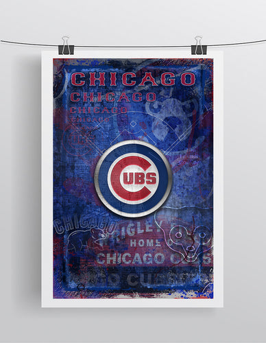 Chicago Cubs Poster, Cubs Artwork Cubs Gift, Chicago Cubs Layered Man Cave Art, Wrigley Field