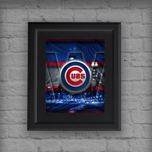 Chicago Cubs W Poster, Cubs W Artwork Cubs Gift, Chicago Cubs Win Man Cave Art, Cubs Infront of Chicago Skyline