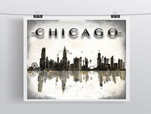 Chicago Poster, Chicago Skyline Gift, Chicago Illinois Skyline, Home Decor Gift Art