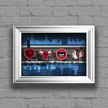 Chicago Sports Teams Poster, Chicago Cubs  Bulls Blackhawks White Sox,  Bears