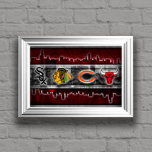 Chicago Sports Teams Poster, Chicago Cubs Bulls Blackhawks White Sox Bears