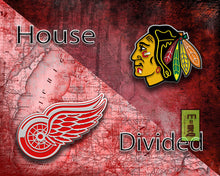 Chicago Blackhawks Detroit Red Wings House Divided Hockey Poster