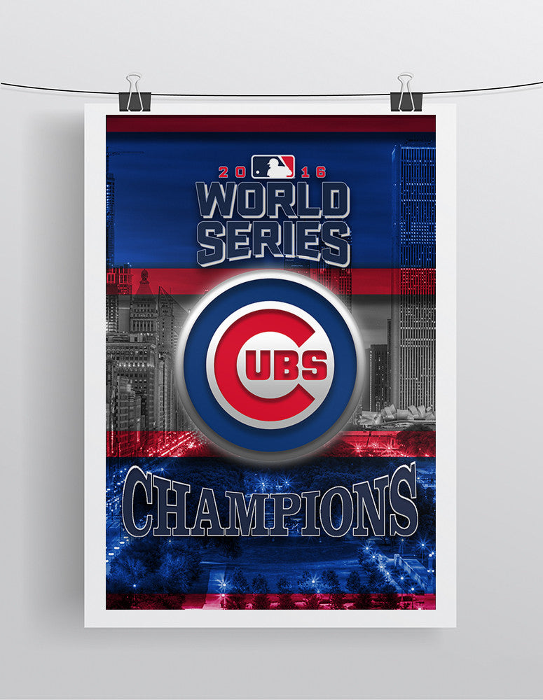 Chicago Cubs World Series Poster, Cubs World Series Artwork Cubs Gift, Chicago Cubs Win Man Cave Art, Cubs Infront of Skyline