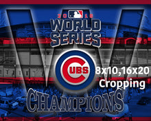 Chicago Cubs World Series Poster, Cubs World Series Artwork Cubs Gift, Chicago Cubs Win Man Cave Art, Cubs Infront of Wrigley Field