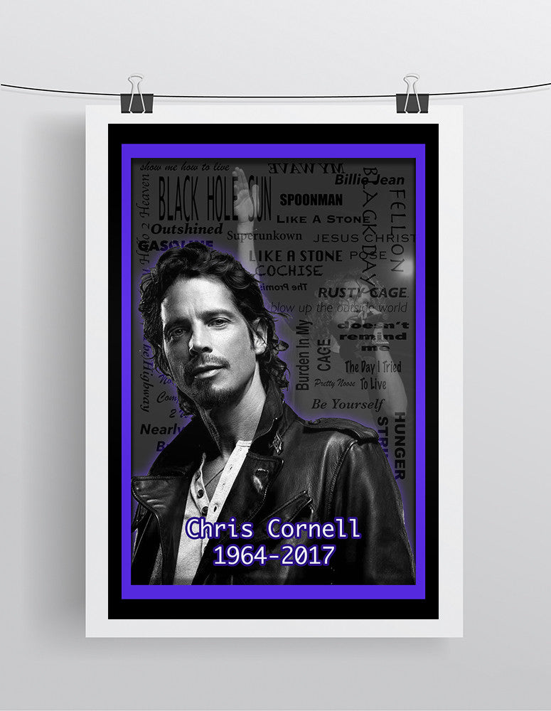 Chris Cornell Memorial Poster, Chris Cornell Memorial Logo 2017 Gift, Chris Cornell Layered Tribute Fine Art