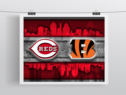 Cincinnati Sports Teams Poster, Cincinnati Ohio Sports Team Art, Cincinnati Reds, Cincinnati Bengals