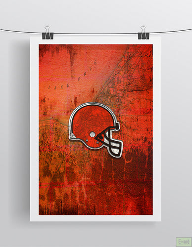 Cleveland BROWNS Football Poster, Cleveland Browns Sports Print, Browns Gift, Browns Man Cave Gift