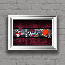 Ohio Sports Teams Poster, Ohio State, Cleveland CAVALIERS, Cleveland INDIANS, Cleveland BROWNS, Cavs