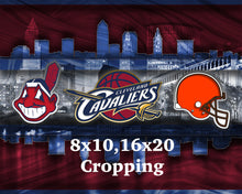 Cleveland Sports Teams Poster, Cleveland CAVALIERS, Cleveland INDIANS, Cleveland BROWNS, Cavs