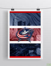 Columbus Blue Jackets Poster, Columbus Blue Jackets Hockey Print, Blue Jackets Man Cave Art, Columbus Ohio Hockey