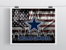 Dallas Cowboys Football Flag Poster, Dallas Cowboys Gift, Dallas Cowboys Map Art, Cowboys Landscape